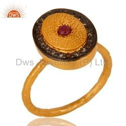 Gold Plated Ruby Pave Diamond Ring