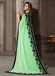 Green and Black Georgette Saree