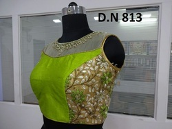 Green Silk Embroidered stitched Blouse
