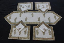 Table Mat Table Runner With Napkin Kitchen Block Printed