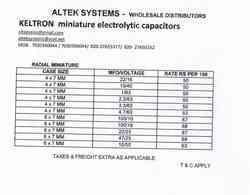 Radial Miniature Price List