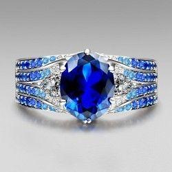 Blue Sapphire And Blue Diamond Ring