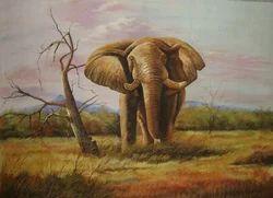 Elephant Silk Painting