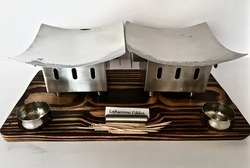 Double Square Warmers Wooden Snacks Service Set