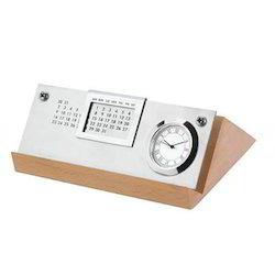 Metallic Calendar with Clock