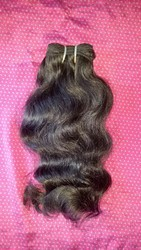 Body Wavy Natural Double Weft Human Hair From Indian Temple