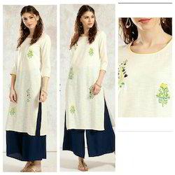 Cotton Slub Kurta With Beautiful Floral Embroidery