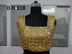 Golden Dhupion stitched Mirror Work Blouse