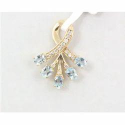 Aquamarine And Diamond 14k Yellow Gold Pendant