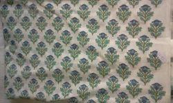 Blue Rose Design Block Printed Fabric