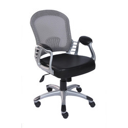Imported Leather Mesh Back Chair