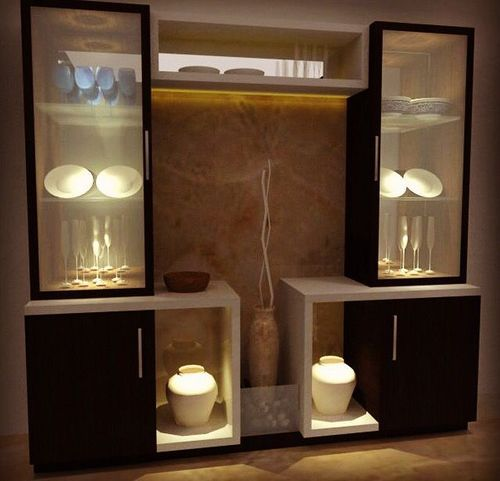 Tv Stand Designs Glass : Modern crockery cabinet wooden unit service