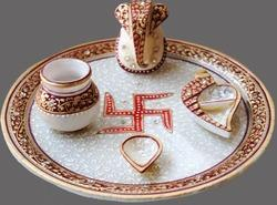 Marble Pooja Thali with Golden work