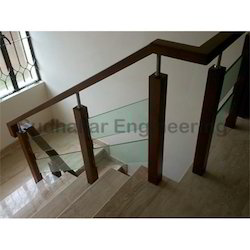 Wooden Railing With Glass Design