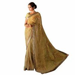 Yellow Coloured Net Saree