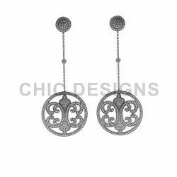Diamond Silver Long Earrings