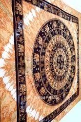 Elephant In Round Pattern Bedspread/ Indian Mandala Tapestry