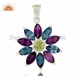 Silver Gemstone Pendant Jewelry