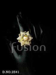 American Diamond Pearl Finger Ring