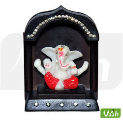 Vaah Polyresin Wooden Ganesh Temple Showpiece for Cars