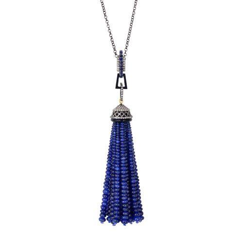 Blue Sapphire Matinee Tassel Necklace