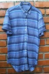 100% Knitted Linen Dyed Yarn Stripes Shirt