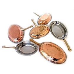 Copper Hammered Oval Pan Portion Dishes