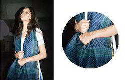 Blue Printed Chanderi Silk Dupata