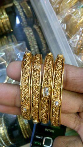 Antique Gold AD Bangles