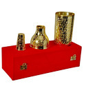 Brass Gold Plated Wine Bottle Case