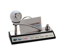 Golf Theme Desk Clock With Card Holder and Pen Holder