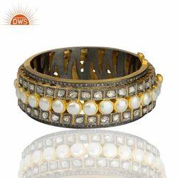 Natural Pearl Pave Diamond Bangle