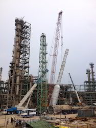 150 Mt. Crane Erecting Chimney Height : 72 Meter Main Boom