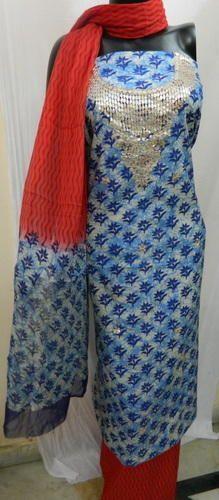 Block Print Gota Patti Dress Material