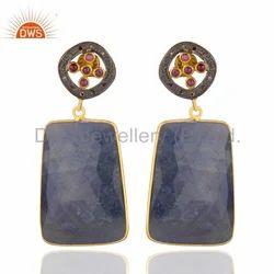 Blue Sapphire Diamond Earring
