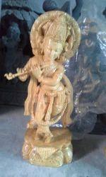 Wood Krishna Statue