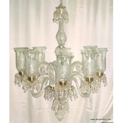 6 Arm Clear Crystal Glass Chandeliers