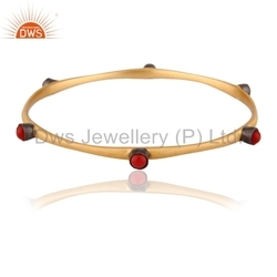 925 Silver Red Coral Gemstone Bangle