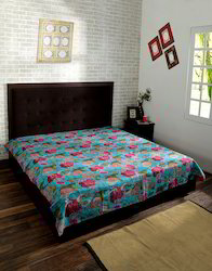 Red Fruit Printed Kantha Work Cotton Bed Linen