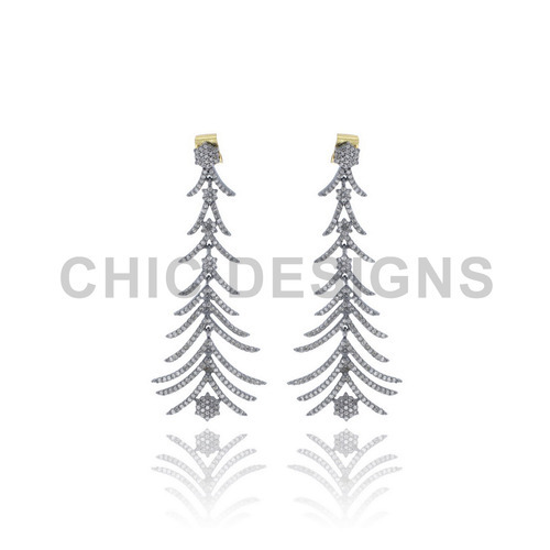 Diamond Feather Silver Peacock Wings Shape Earrings