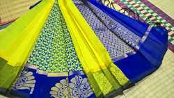 Silk Cotton Sarees Partly Pallu Design
