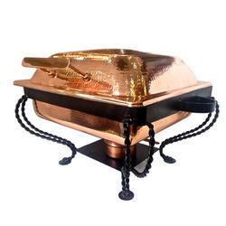 Grand Square Copper Hammered Finished Chafer W Black Stand