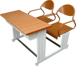 Plywood Table Steel Chair- Two Seater