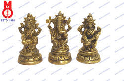 Lord Ganesh, Laxmi & Saraswati Sitting on RD. Lotus Base
