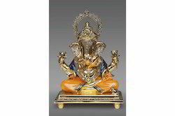 Gold Plated Dagadu Ganesh Statue