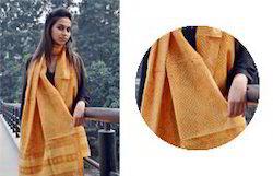 Orange Khada Meheshwari Gold Dupatta