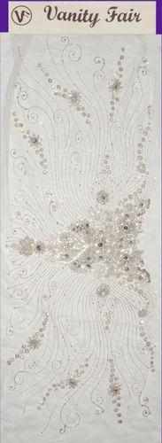 White On White Stone Work Fabric