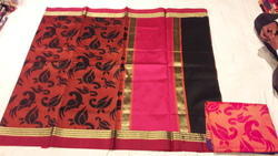 Cock Weaving Kora Silk Saree