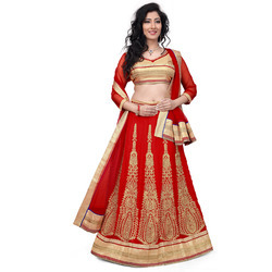 Red Georgette Heavy Embroidered Lehenga