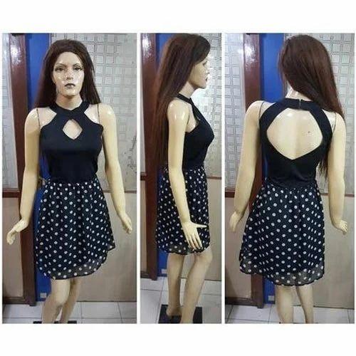 ladies one piece dress ladies cross neck one piece dress